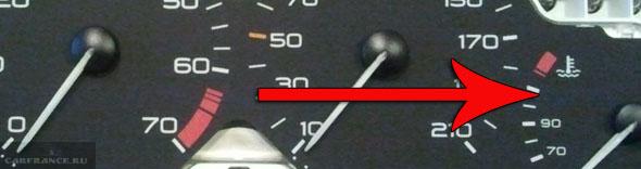 Указатель температуры двигателе на Пежо 206