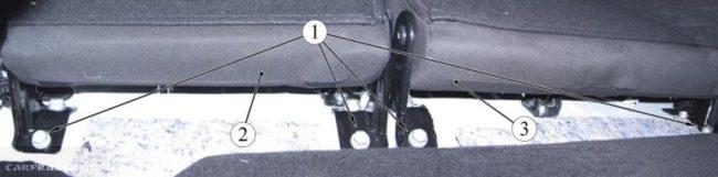 Крепежные элементы задней спинки сиденья Лада Веста