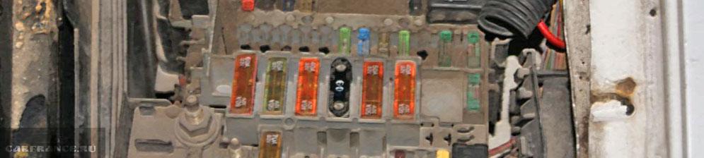 Блок предохранителей с реле на Пежо 206 под капотом