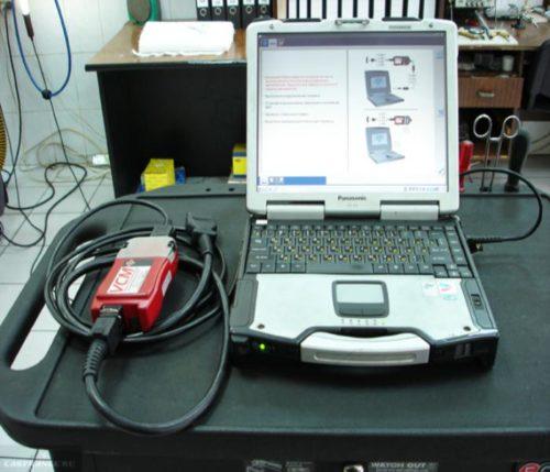 Оборудование и ноутбук с программой для диагностики расхода топлива Ланос