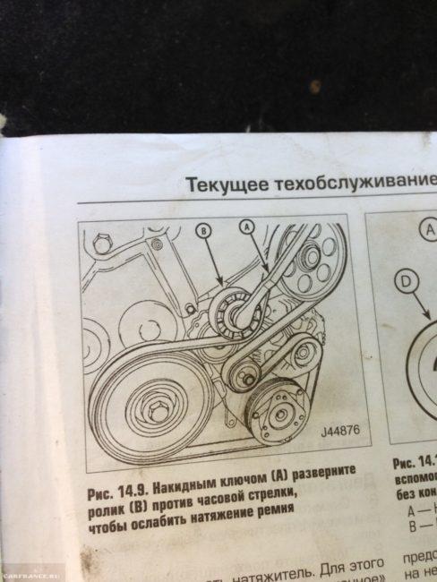Скрин из инструкции по снятию генератора на Пежо 206