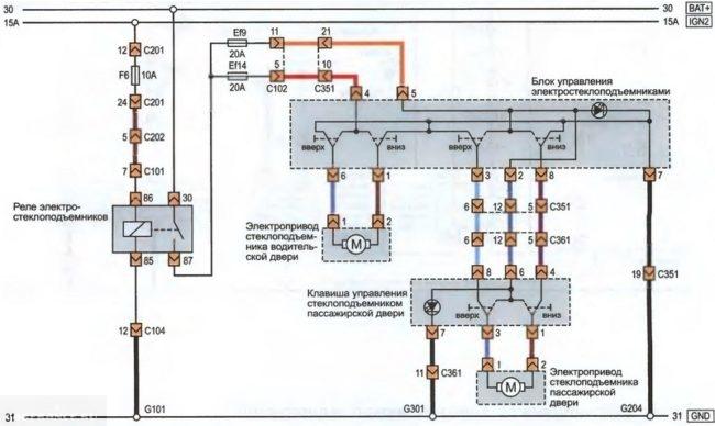 Электрическая схема электропривода стеклоподъемников Шевроле Лачетти