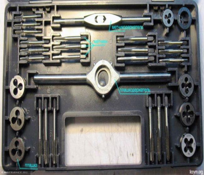 Набор метчиков и плашек для нарезания резьбы