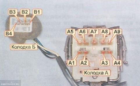 Схема контактов подрулевого переключателя омывателя лобового стекла на Шевроле Лачетти