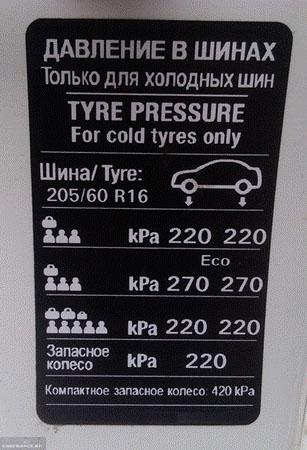 Таблица с давлением резины на кузове Шевроле Круз