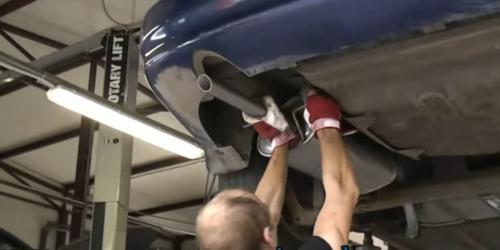 Установка банки глушителя Шевроле ланос вид из под автомобиля