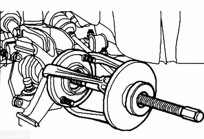 Демонтаж передней ступицы Форд Фокус 2