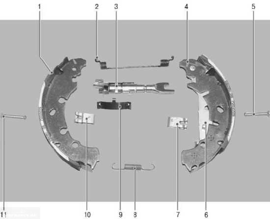 Техсхема задних тормозных колодок Форд Фьюжн