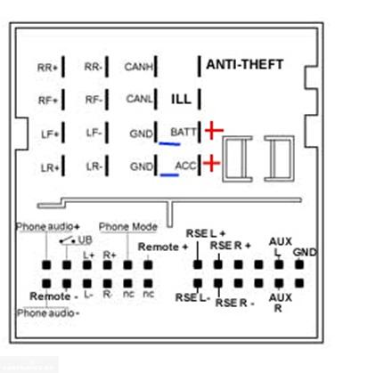 Схема и обозначения подключения проводов к магнитоле Форд Фокус 2