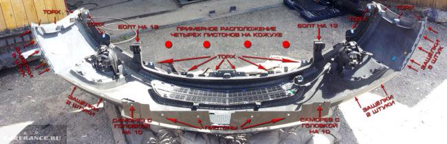 Схема закрепления переднего бампера на авто Шевроле Круз