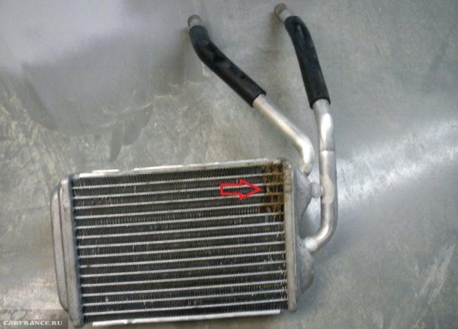 Протечка радиатора системы отопления авто Дэу Нексия