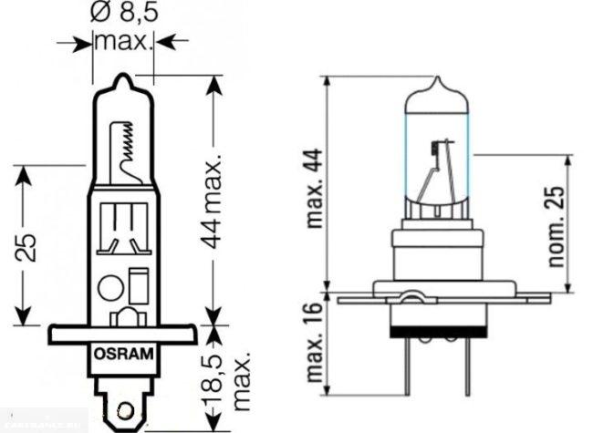 Схема и размеры ламп Н1 и Н7 для фар автомобиля ВАЗ-2110