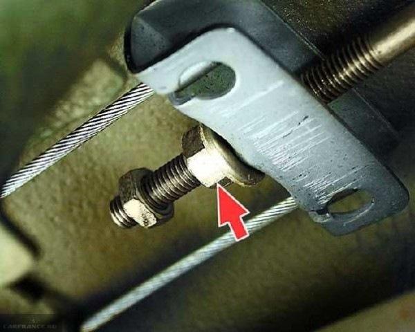 Регулировочные гайки и планка распределителя троса ручного тормоза в ВАЗ-2110