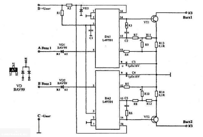 Электрическая схема двухканального модуля зажигания автомобиля ВАЗ-2110