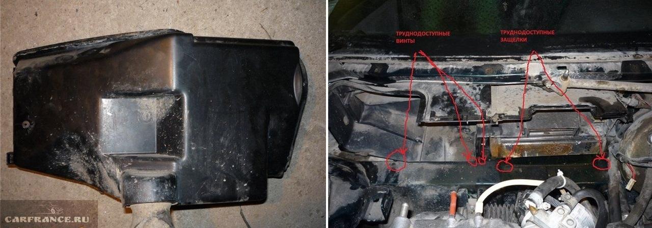 Демонтаж корпуса вентилятора на ВАЗ-2110