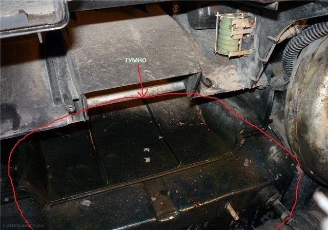 Место установки радиатора отопителя ВАЗ-2110 старого образца