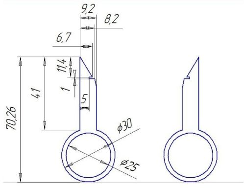 Чертеж ключей для снятия штатной магнитолы в автомобиле Форд Фокус 2