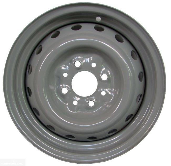 Диск колесный штампованный серого цвета для ВАЗ-2110, расстояние между болтами - 98 мм
