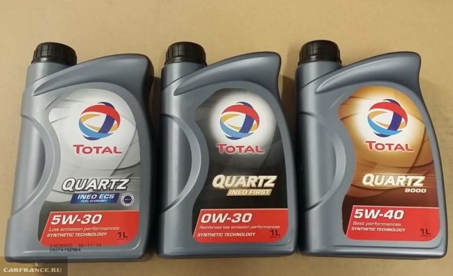 Моторные масла Total Quartz различной вязкости в литровых канистрах для двигателей автомобиля Пежо 307