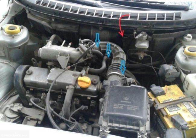 Моторный отсек автомобиля ВАЗ-2110 с указанием местонахождения патрубков отопителя