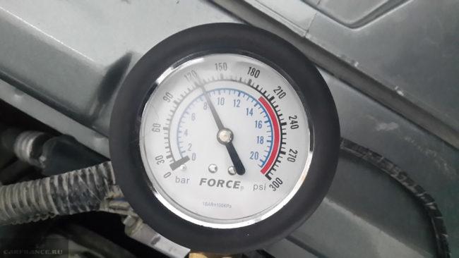Давление в 12 атмосфер на шкале манометра при замере компрессии