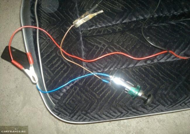 Прикуриватель от автомобиля ВАЗ-2110, проверка электрической цепи на обрыв