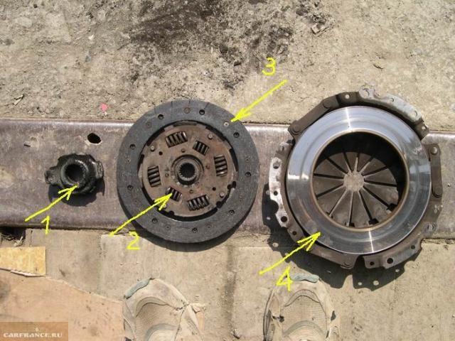 Старое сцепление с автомобиля ВАЗ-2110: изношенный подшипник и накладки, люфт пружин в посадочных гнездах