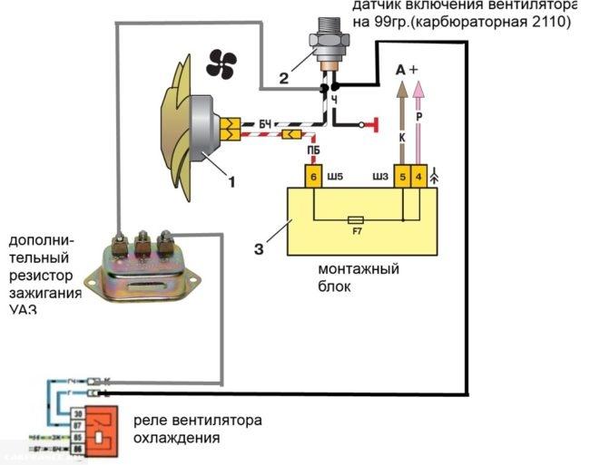 Принципиальная схема подключения датчика вентилятора от карбюраторного двигателя в ВАЗ-2110 с инжекторным мотором