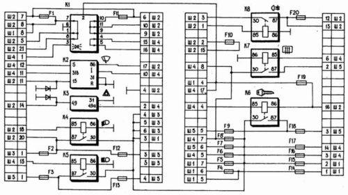 Схема монтажного блока предохранителей автомобиля ВАЗ-2110, цоколевка разъемов и реле