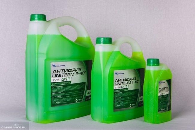 Антифриз Uniterm G11 зеленого цвета