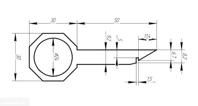Чёртеж ключа для демонтажа штатной магнитолы Форд Фьюжен