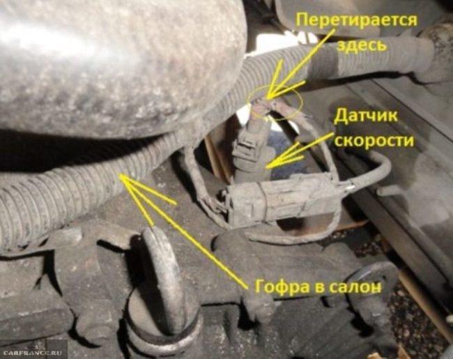 Расположение датчика скорости ВАЗ-2110 под капотом