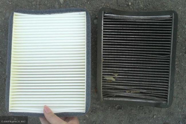 Внешний вид старого и нового фильтров очистки салонного воздуха от автомобиля ВАЗ-2110