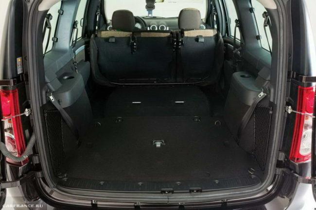 Багажник 5-местного универсала Лада Ларгус 2018 модельного года при разложенных сиденьях второго рядя