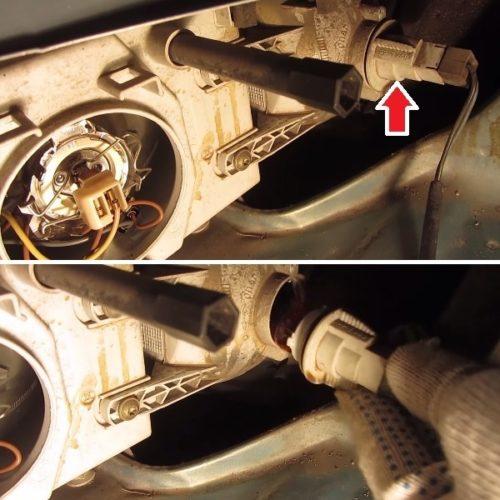 Патрон лампы переднего указателя поворотов вблизи на ВАЗ-2110