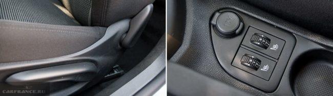 Рукоятка регулировки наклона спинки водительского кресла и барашки электроподогрева сидений в Пежо 408 2018 года