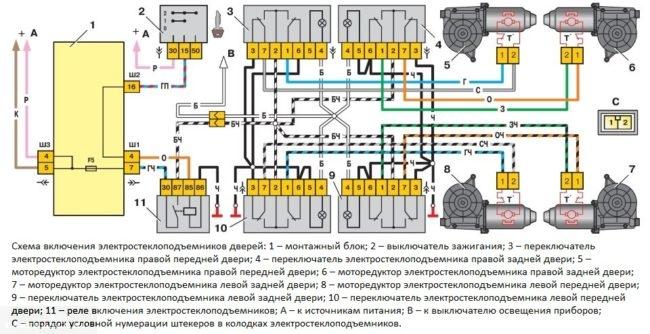 Принципиальная схема подключения электрических стеклоподъемников дверей в автомобиле ВАЗ-2110