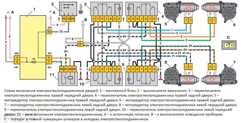 Схема кнопки стеклоподъемника ваз 2110