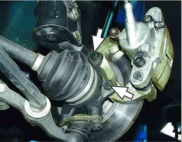 Болты крепления направляющих тормозных колодок на ВАЗ-2110