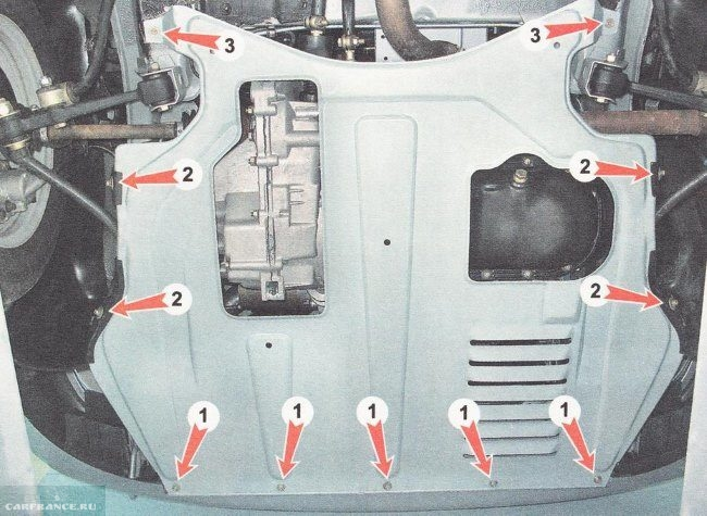 Точки крепления штатной защиты двигателя автомобиля ВАЗ-2110, вид снизу
