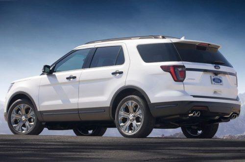 Вид сбоку американского внедорожника Форд Эксплорер 2018 модельного года