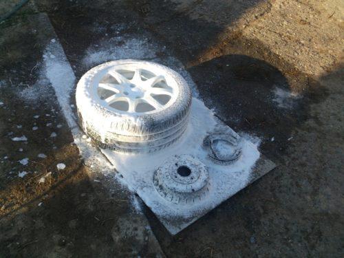 Очистка заднего колеса, колодок и барабана от следов протекание тормозной жидкости в ВАЗ-2110