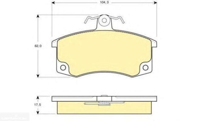 Схема передней колодки ВАЗ-2110 с размерами