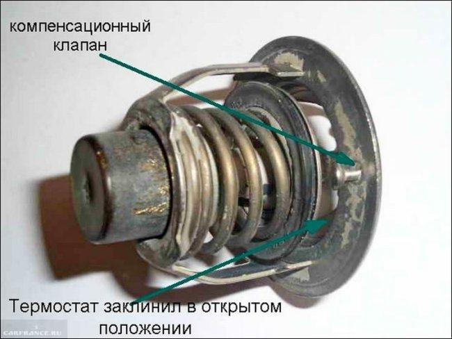 Клапан термостата заклинил в открытом состоянии