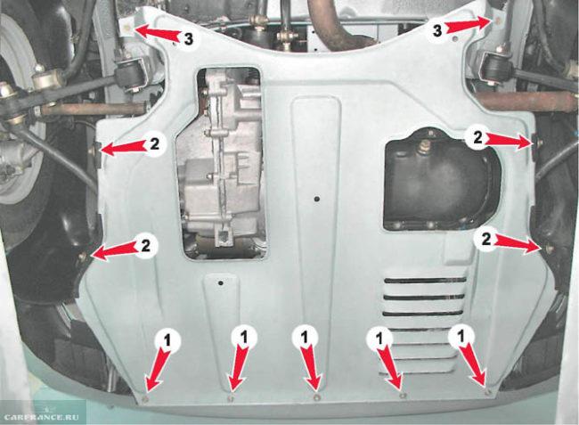 Демонтаж защиты двигателя ВАЗ-2110 вид из под автомобиля