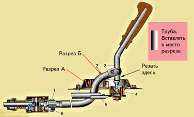 Схема переделки родной кулисы в короткоходную для автомобиля ВАЗ-2110