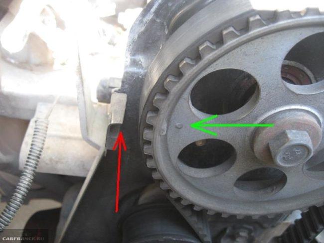 Метки установки распределительного вала двигателя ВАЗ-2110 8 клапанов