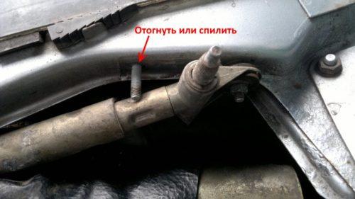 Подгонка узла крепления трапеции дворников старого типа под установку деталей нового образца в ВАЗ-2110