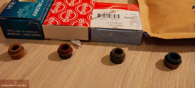 Маслосъёмные колпачки разных производителей на 8-ми клапанник ВАЗ-2110