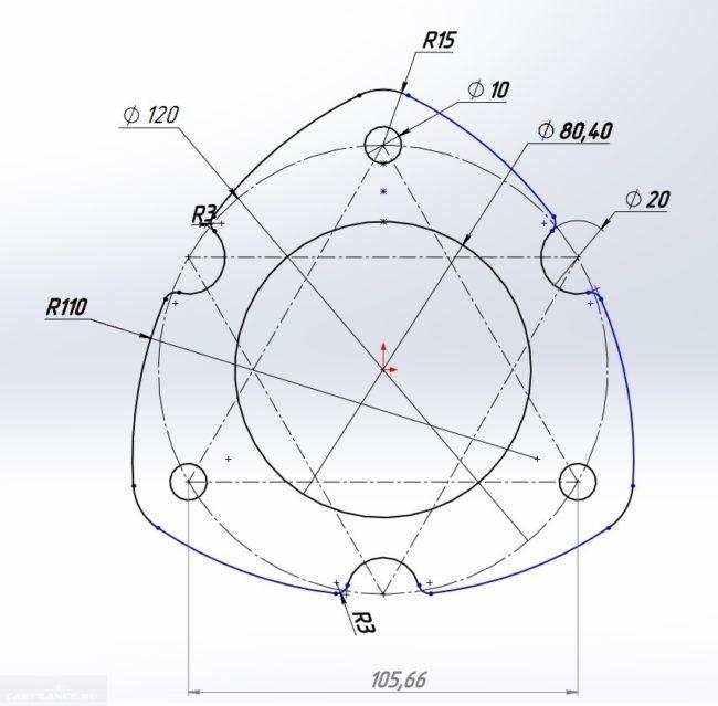 Схема проставки с показателями размера на Сузуки Гранд Витара